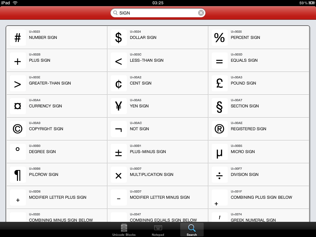 Unicode Pad – The Premium Character Map for iPad and iPhone